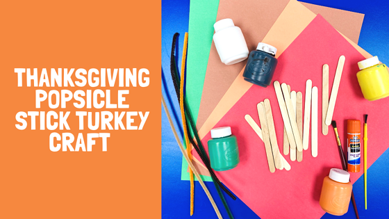 thanksgiving popsicle stick turkey craft text and picture of craft supplies for craft