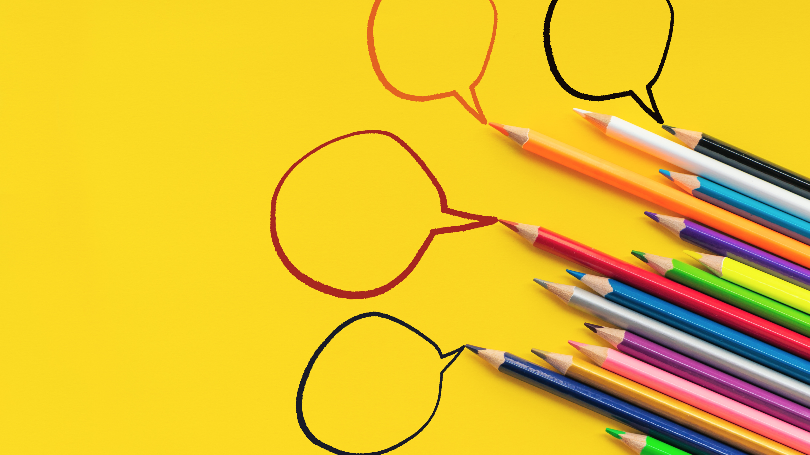 yellow background with pencils and four speech bubbles